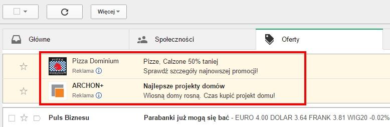 Reklam w Gmailu - przykład